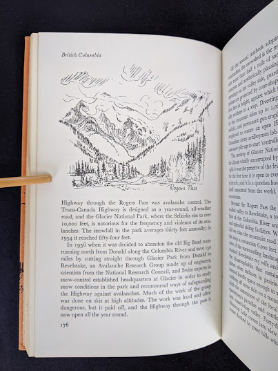 drawing of Rogers Pass inside a 1966 copy of The Road Across Canada by Edward McCourt - 2nd Printing