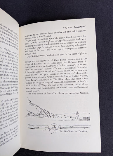 drawing of the lighthouse at baddeck nova scotia inside a 1966 copy of The Road Across Canada by Edward McCourt - 2nd Printing