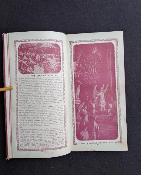 image of Lucifer inside a 1914 Hungarian Bible - A SZÁZADOK LATKÉPE VAGY - A TEREMTÉS MÜVE KÉPEKBEN