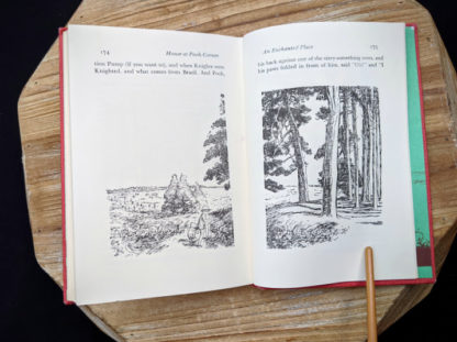 page 174 and 175 inside a 1961 copy of The House at Pooh Corner by A.A. Milne