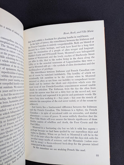 page 93 inside a 1966 copy of The Road Across Canada by Edward McCourt - 2nd Printing