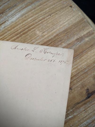 previous owners signature inside a 1870 copy of Sämtliche Werke - Heinrich Heine - German Book
