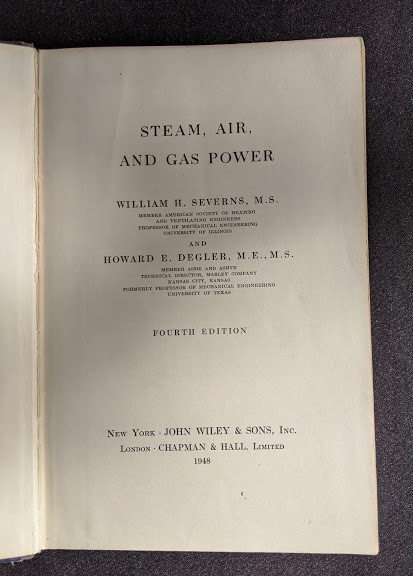 title page - 1948 Steam, Air And Gas Power by Severns And Degler 4th Edition