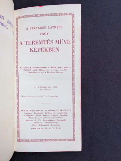 title page inside a 1914 Hungarian Bible - A SZÁZADOK LATKÉPE VAGY - A TEREMTÉS MÜVE KÉPEKBEN