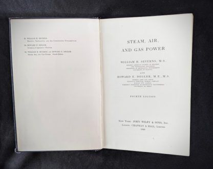 title page inside a 1948 copy of Steam, Air And Gas Power by Severns And Degler 4th Edition
