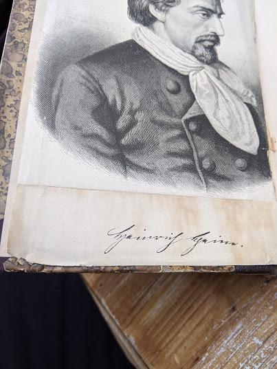writing under a drawing inside a 1870 copy of Sämtliche Werke - Heinrich Heine - German Book