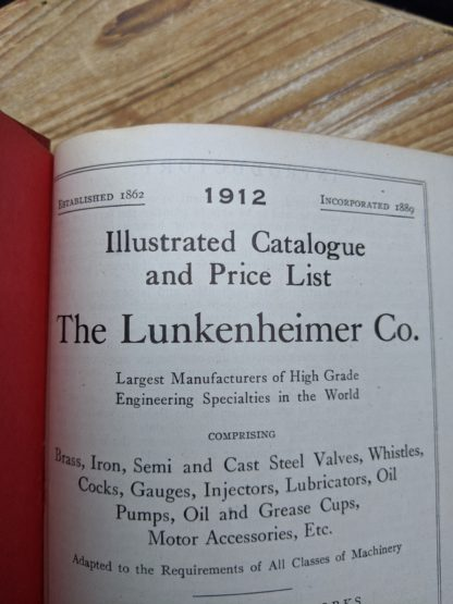 1912 The Lunkenheimer Company Catalogue Number 50 -Title Page up close