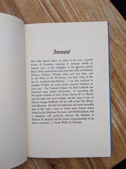 Foreward inside a 1960 copy of The Salt Water Men - Canadas Deep Sea Sailors by Joseph Schull
