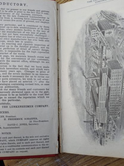 Full seam split inside a 1912 copy of The Lunkenheimer Co Illustrated Catalogue and Price List catalogue 50