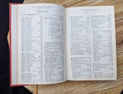 Index inside a 1912 copy of The Lunkenheimer Company Catalogue Number 50
