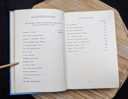 List of illustrations inside a 1946 copy of Saints Devils and Ordinary Seamen Life on the Royal Canadian Navys Lower Deck - second printing