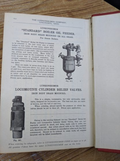 Locomotive cylinder relief valves - 1912 Lunkenheimer Co Illustrated Catalogue and Price List catalogue 50