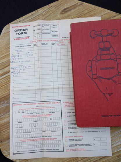 Order form found inside a 1912 The Lunkenheimer Company Catalogue Number 50 -ephemera