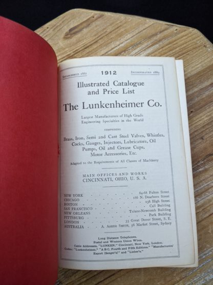 Title page inside a 1912 copy of The Lunkenheimer Company Catalogue Number 50