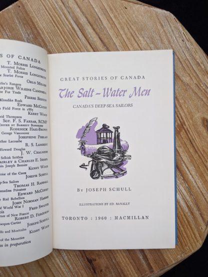Title page inside a 1960 copy of The Salt Water Men - Canadas Deep Sea Sailors by Joseph Schull