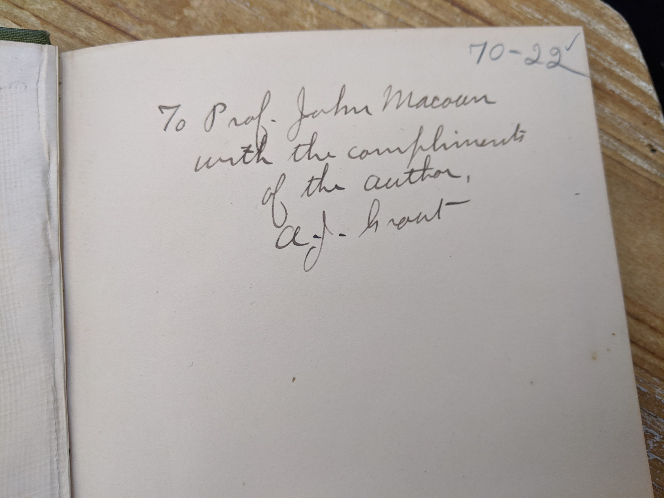 gift annotation - compliments of the author inside a 1900 copy of Mosses with a Hand-Lens - A Non - Technical Handbook of the More Recognized Mosses of the North-Eastern United States - By A J Grout