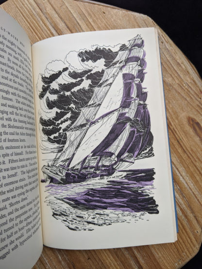 illustration of a ship in a storm - inside a 1960 copy of The Salt Water Men - Canadas Deep Sea Sailors by Joseph Schull