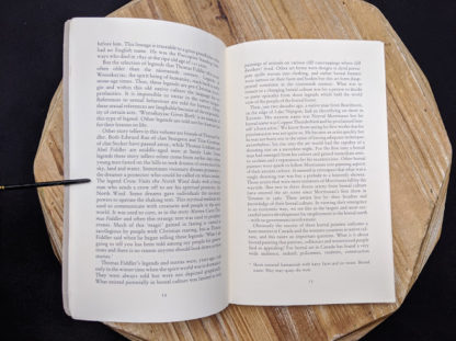 pages inside a 1985 copy of Legends from the Forest told by Thomas Fiddler edited by James R Stevens