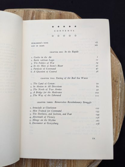 Contents page 1 of 3 inside a 1965 copy of Never Call Retreat - The Centennial History of the Civil War by Bruce Catton - Volume Three