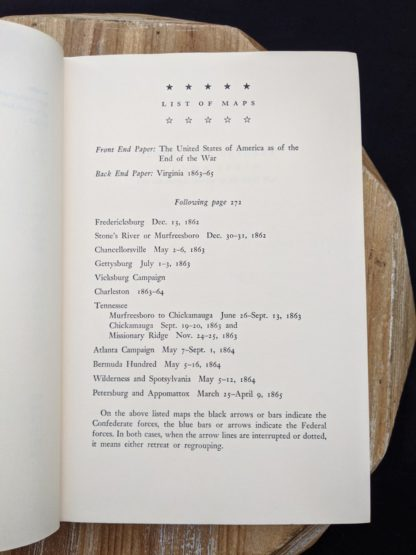 List of maps inside a 1965 copy of Never Call Retreat - The Centennial History of the Civil War by Bruce Catton - Volume Three
