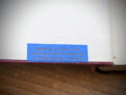 Antique Bookshop Label inside a Signature of H. S. Harris up close inside a 1930 copy of The Philosophical Theory of the State by Bernard Bosanquet