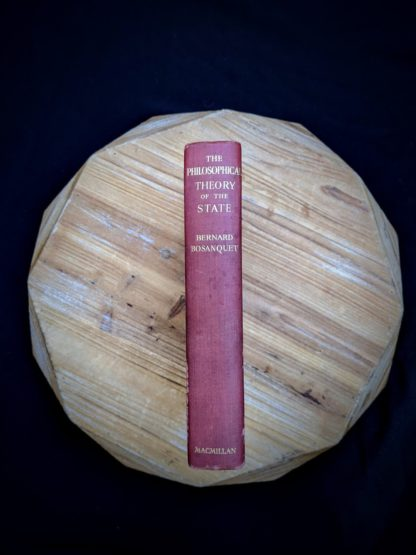 Spine view on a 1930 copy of The Philosophical Theory of the State by Bernard Bosanquet - signed by H. S. Harris