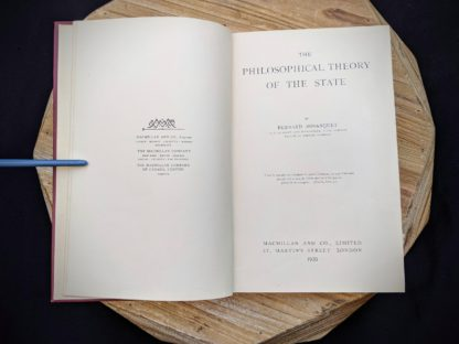 title page inside a 1930 copy of The Philosophical Theory of the State by Bernard Bosanquet