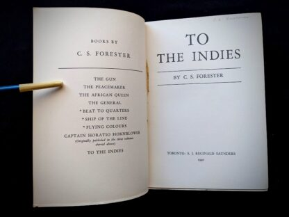 1940 To the Indies by C.S. Forester - First Canadian Edition - published by S.J. Reginald Saunders - Title page