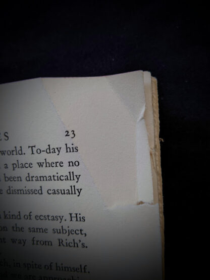 damage to page 23 inside a 1940 copy of To the Indies by C.S. Forester - First Canadian Edition - published by S.J. Reginald Saunders