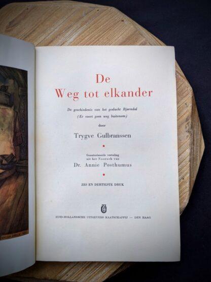 1935 De Weg tot Elkander by Trygve Gulbranssen - third book of the trilogy - First Edition - title page