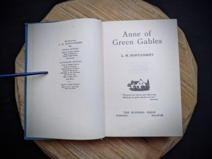 1948 Anne of Green Gables by Montgomery published by Ryerson Press - Title Page