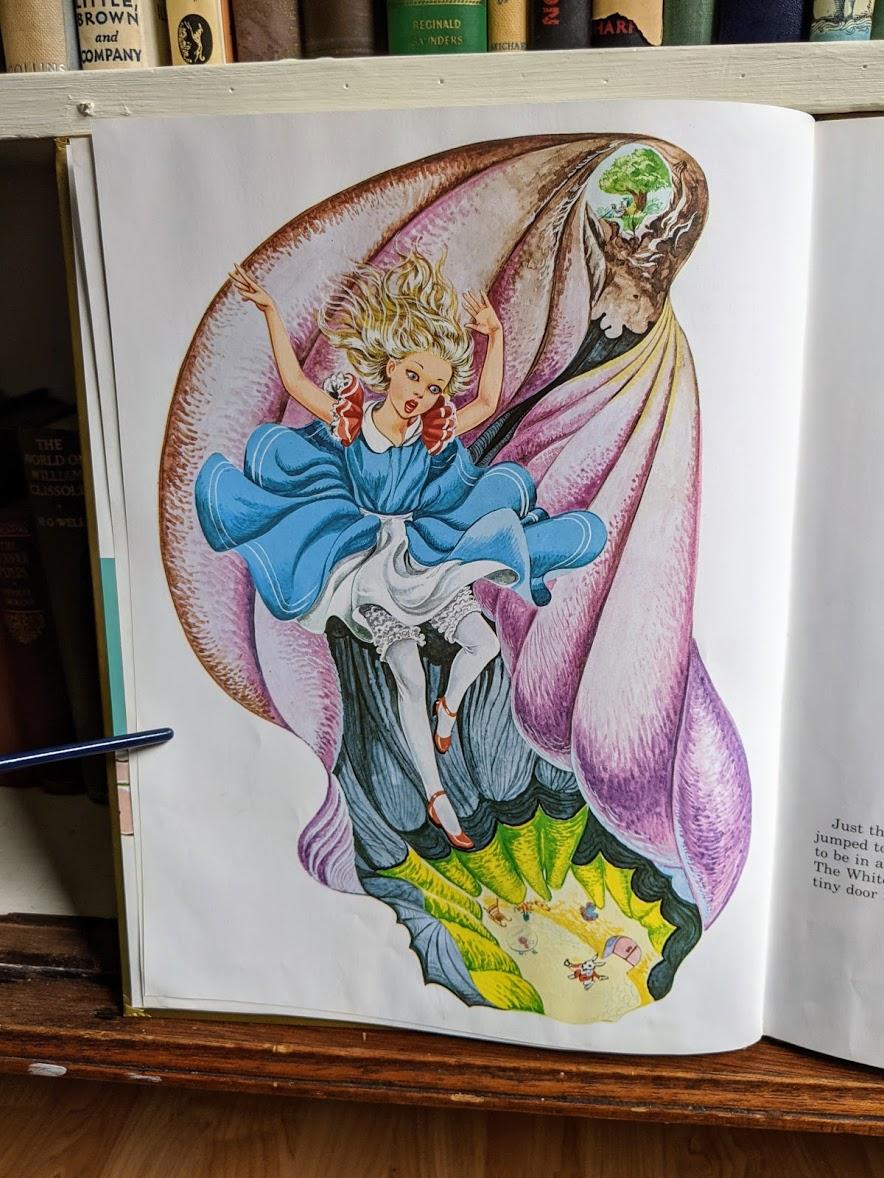 1985 Alice in Wonderland - Ottenheimer Publishers - Printed in Italy - illustration falling down rabbit hole