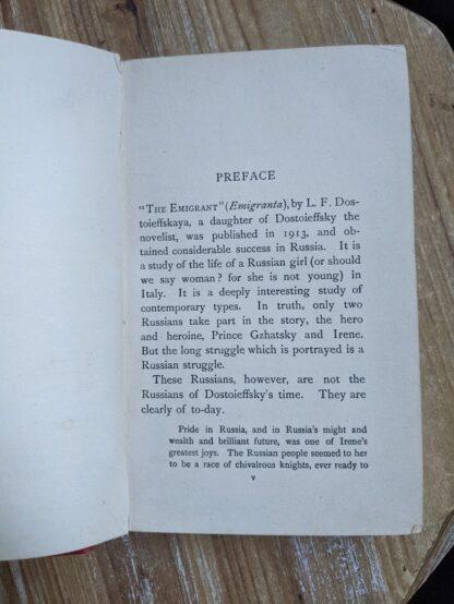 Preface inside a 1916 copy of The Emigrant by Dostoieff Skaya