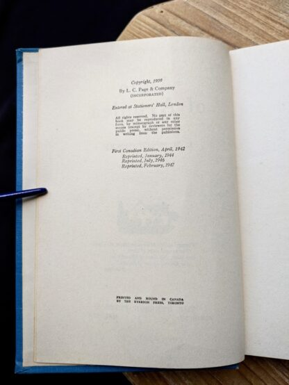 copyright page inside a 1947 copy of Anne of Avonlea by Montgomery