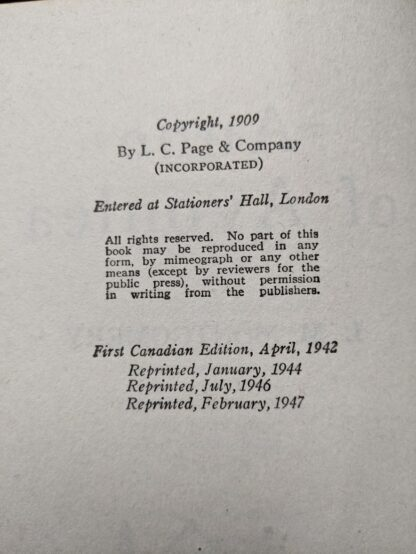 copyright page up close inside a 1947 copy of Anne of Avonlea by Montgomery
