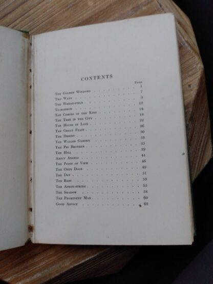 Contents page 1 of 2 inside a 1903 First edition copy of The Golden Windows - A Book Of Fables For Young And Old
