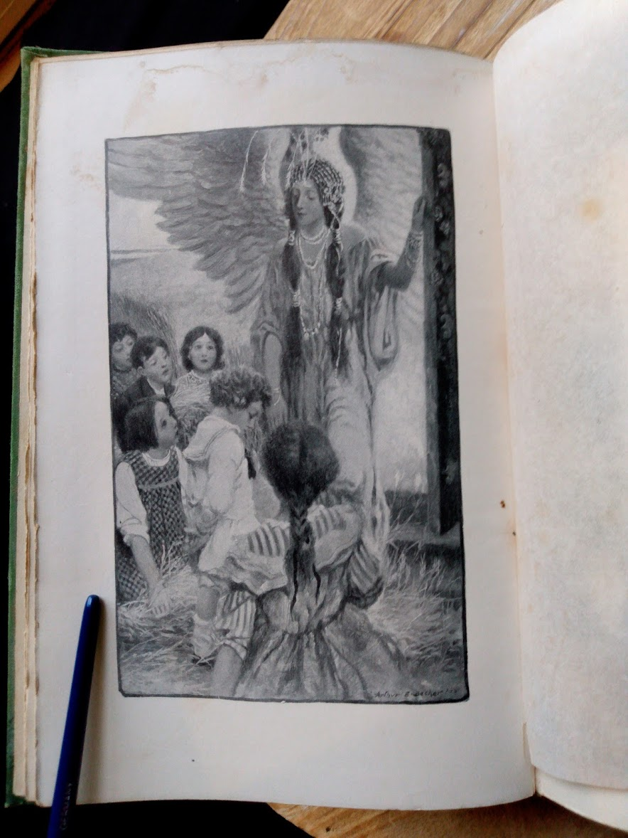 black and white plate illustration inside a 1903 First edition copy of The Golden Windows - A Book Of Fables For Young And Old