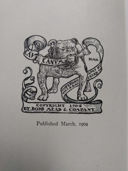 Copyright up close inside a 1904 copy of The Day of the Dog by George Barr McCutcheon - First Edition