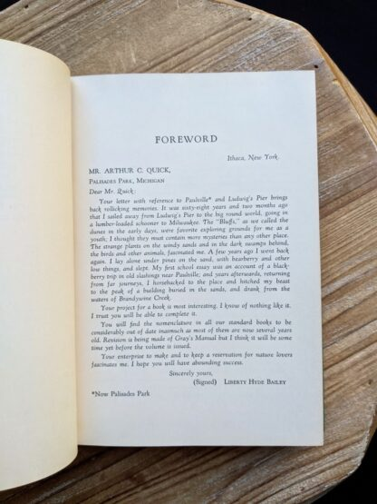 Forward inside a 1939 copy of Wild Flowers of the Northern States and Canada by Arthur Craig Quick - First Edition