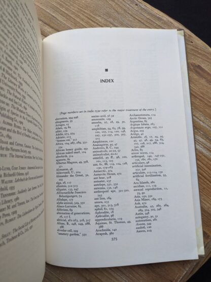 Index inside a 1965 The Sex Life of the Animals by Herbert Wendt - First Printing