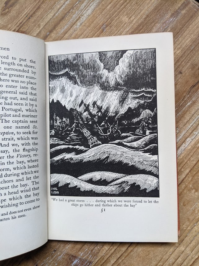 illustration of a ship at storm inside a 1929 A Book of Seamen by F. H. Doughty - First Edition