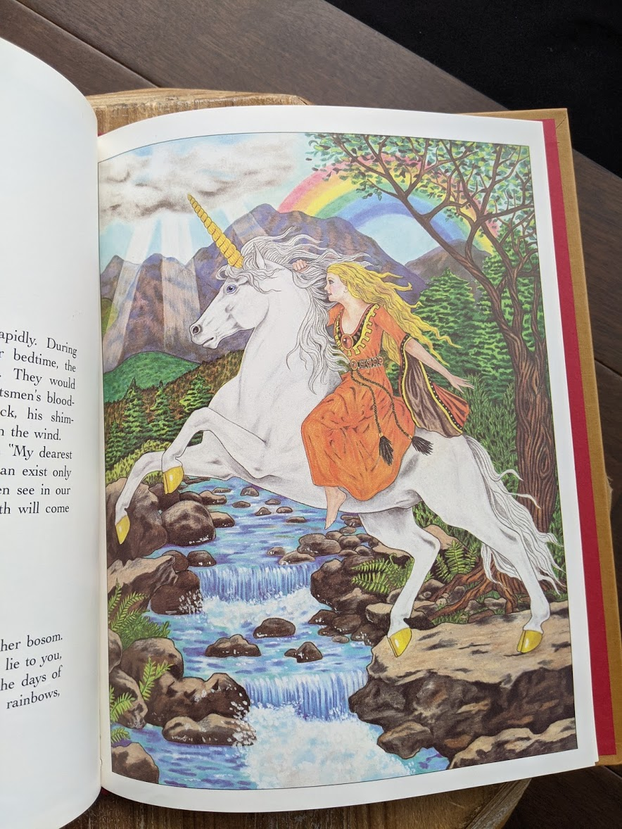 illustration inside a 1981 copy of One Unicorn written and illustrated by Gale Cooper - First Edition