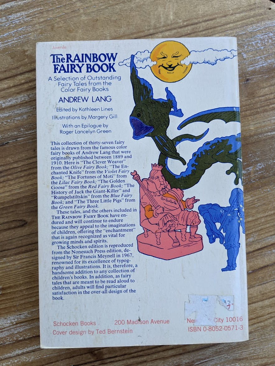 Back cover of a Rare 1977 copy of The Rainbow Fair Book - A Selection of Outsanding Fairy Tales from the Color Fairy Books - Andrew Lang