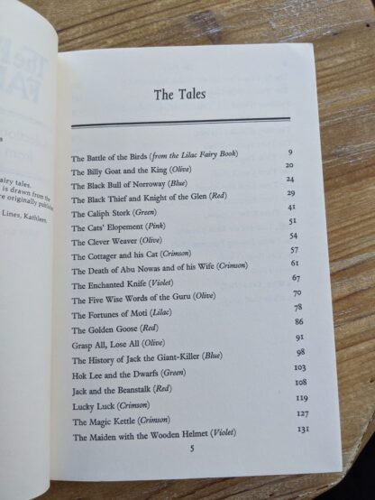 Table of Contents inside a 1977 copy of The Rainbow Fairy Book - page 1 of 2 - Andrew Lang