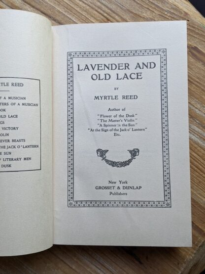 Title page inside a 1902 copy of Lavender & Old Lace by Myrtle Reed