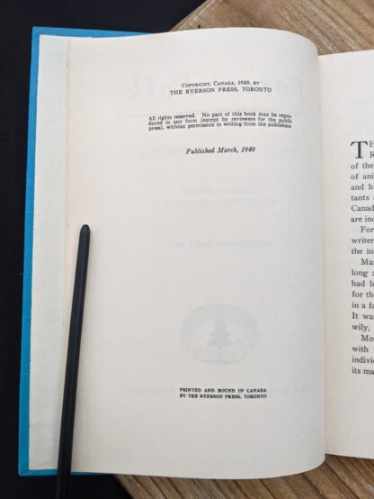copyright page on a 1949 Forest Folk by Charles G. D. Roberts - First edition