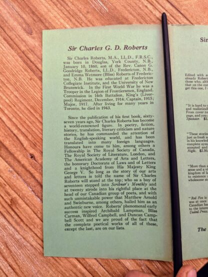 front flap of dustwrapper on a 1949 copy of Forest Folk by Charles G. D. Roberts - First edition