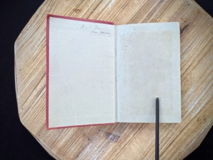 Front endpaper and pastedown inside a circa 1910 Stamp Collecting - A Guide for Beginners