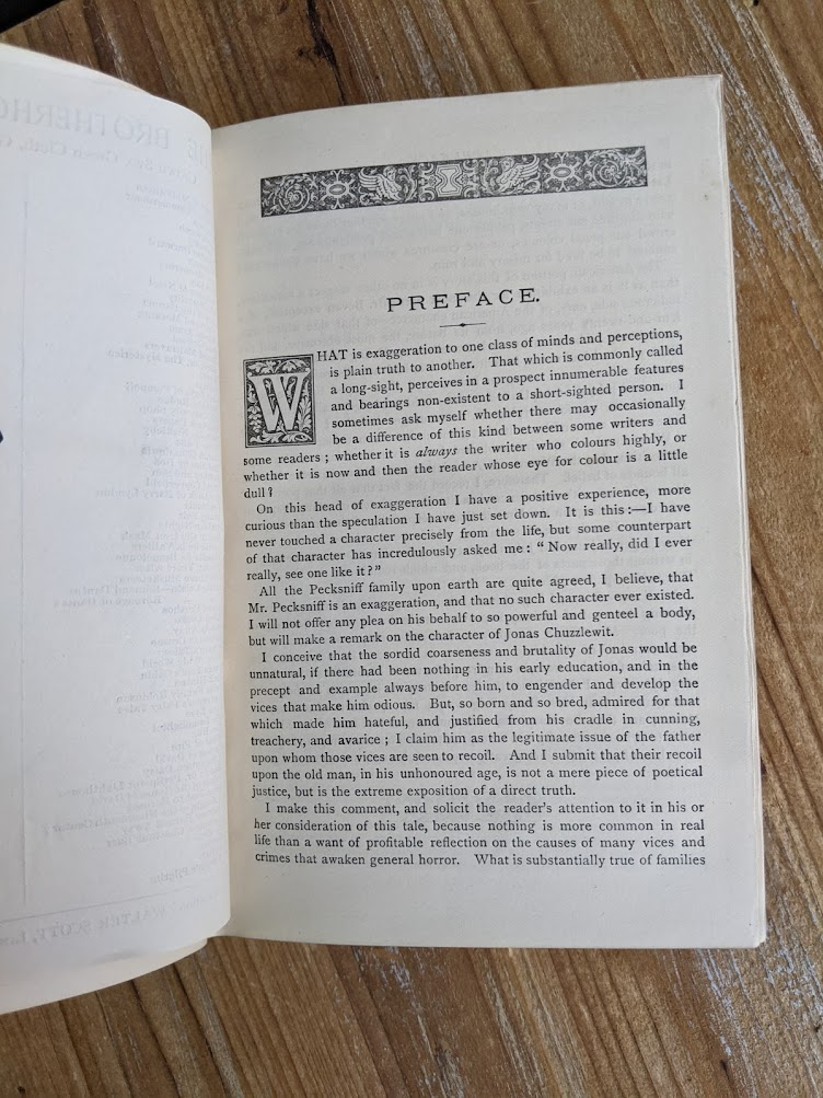 Preface inside an antiquarian copy of The Life and Adventures of Martin Chuzzlewit by Charles Dickens - Circa 1880's - undated