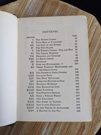 Table of Contents page 1 of 2 inside a 1932 copy of The Flying Carpet by Richard Halliburton - First Edition